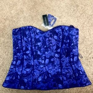 NWT: White House Black Marker Blue Floral Bustier